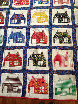 Vintage 1970's THIS OLD HOUSE Pattern Quilt Carters Bridge Homemakers 60x72 Twin
