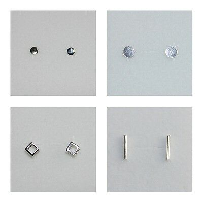 New 925 Sterling Silver Small Big Round Open Square Box Bar Stick Stud Earrings