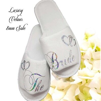 Bride Bridal Bridesmaid Hen Wedding Slippers Sparkling Silver LUXURY VELOUR