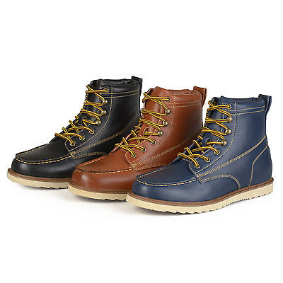 Territory Mens Lace-up Faux Leather Moc Toe Work Boots