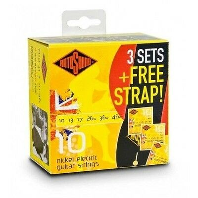 New 3 X Rotosound R10-31 Electric Guitar Strings 10-46. 3 SETS + FREE STRAP!