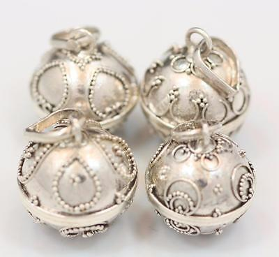 Sterling Silver .925 Handmade Lot of 4 Small Bali Harmony Ball Pendants. 12 mm.