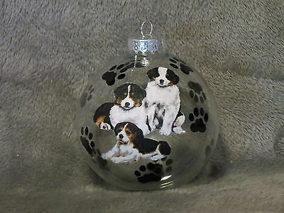 "Hand Made Bernese Mountain Dog 4"" Glass Christmas Ornament / Ball"
