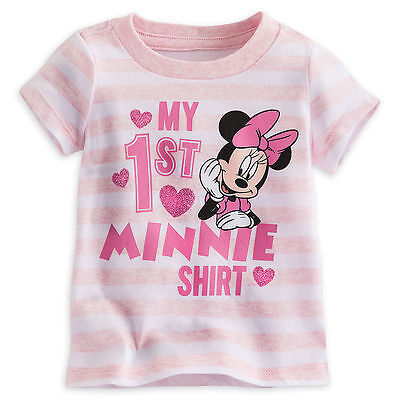 """Disney Store """"My First """" Minnie Mouse Girls Baby Shirt Pink Size 3 6 9 12 Months"""