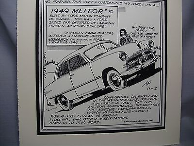 1949 Meteor Auto Pen Ink Hand Drawn Poster Automotive Museum Archives