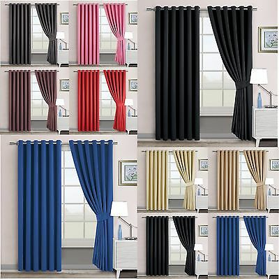 Thermal Blackout Ring Top OR Pencil Pleat Curtains Interwoven Natural Blackout