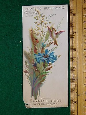 1870s-80s Edwin C Burt & Co Fine Shoes Haynes L Hart Calendar Trade Card F23