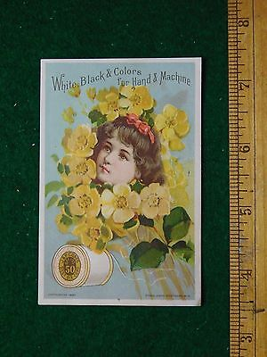 1870s-80s J&P Coates Six Cord Thread Girl with Ring of Flowers Trade Card F23