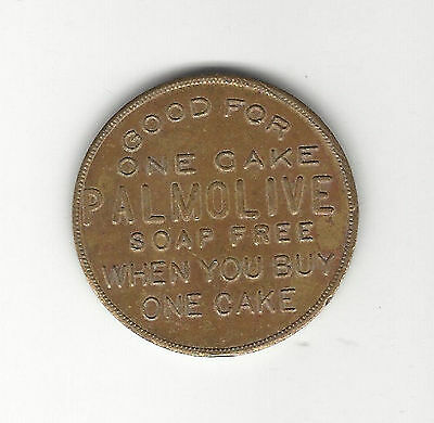"3. Vintage 1 1/2"" Dia Token Good For 1 Cake Palmolive Soap Free When You Buy One"