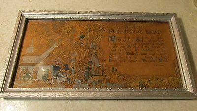 1925 Buzza Friendship's Road Motto Print J B Downie