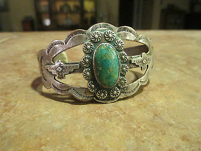 WIDE OLD Fred Harvey Navajo Sterling Silver Green Turquoise Thunderbird Bracelet