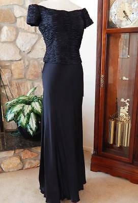 NWT Montage Black Silk Beaded Gown Long Dress MOB Formal Sz 12