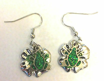 Stain Glass Window Frog Charm, Pewter Lily Pad Charm, Earrings, Pond LIfe