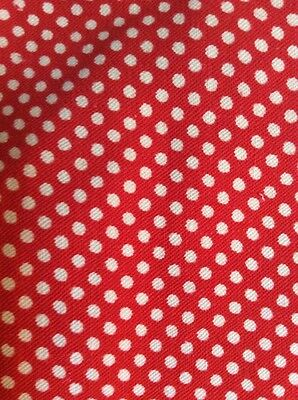 Feedsack Vintage Material White Polka Dots Red 4 Foot 100% Cotton Cloth 1930s