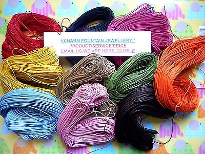 JEWELLERY CRAFT MAKE NECKLACE DREAM CATCHER WAX CORD 12 COLOURS 80/800mtr (WC1)