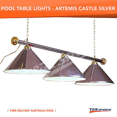 Luxury Metal Silver Pool Billiard Snooker Table Light Lamp Free Delivery