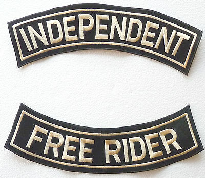 SET 2 LARGE PATCHES HARLEY DAVIDSON - INDEPENDENT FREE  RIDER - made in chenille