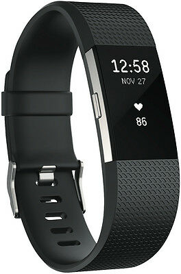 NEW Fitbit 3352569 Charge 2 Black Silver Large