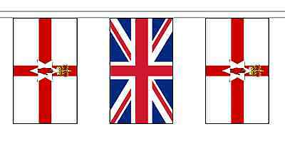 United Kingdom UK & Northern Ireland Polyester Flag Bunting - 10m with 28 Flags