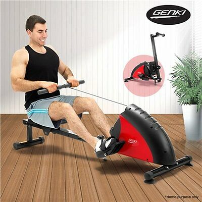 NEW Foldable GENKI Fitness Magnetic Exercise Rowing Machine w/ Magnetic Flywheel