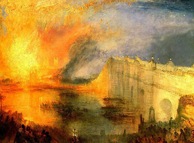Burning of the Houses of Parliament Joseph Turner Painting Picture Art Print A4