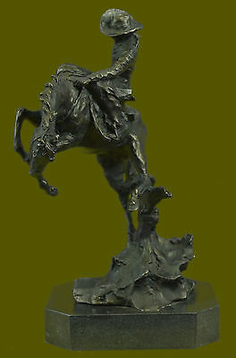 """""""BRONCHO BUSTER"""" by FREDERIC REMINGTON! LARGE BRONZE COWBOY & BRONCO! HIS BEST!"""