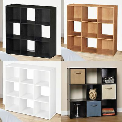 Wooden Storage Unit 9 Cube 3 Tier Strong Bookcase Shelving Home Office Display