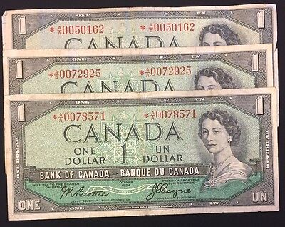 1954 Bank of Canada $1 Replacement Lot of 3 Notes