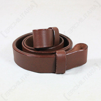US CIVIL WAR SPRINGFIELD MUSKET SLING - Repro Brown Leather Rifle Carrier Strap