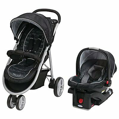 Graco Aire3 ClickConnect TRAVEL SYSTEM, Foldable Infant CAR SEAT STROLLER Gotham
