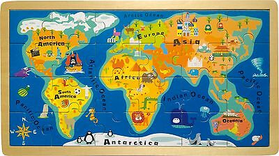 Wooden Framed Puzzle World map 24 Pieces Wood Geography 18 months/2 years Child