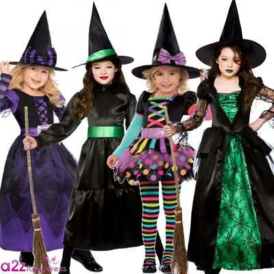 Girls Halloween Witches Fancy Dress Costume Witch Outfit Kids Age 3-13