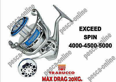 Mulinello Exceed Spin Trabucco 4000 - 4500 - 5000 - 6000 Top Max Drag 20 Kg.