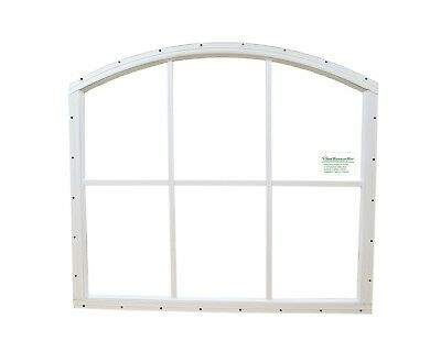 Arched Shed Window 6 lite afety Glass White Playhouse Storage Shed Barn