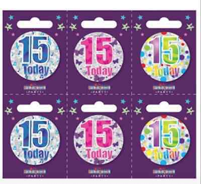 Small Teen FIFTEEN year old Birthday Badges ALL AGES available Holographic 15 15