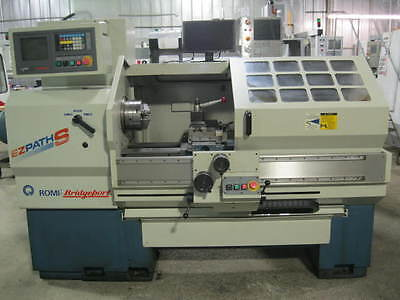 "BRIDGEPORT ROMI CNC LATHE, EZ-PATH S 1998.  8"" chuck, tool post, steady rest +"