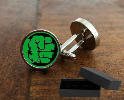 Incredible Hulk - Cufflinks - 3D Glass Lens Front - Marvel Stan Lee - Mens Gift