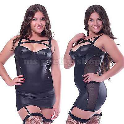 Plus Size Black Sexy Faux Leather Dress G-string Suspenders Wet Look Clubwear