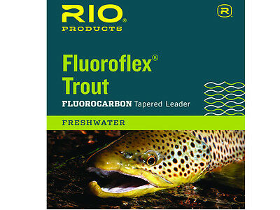 Rio Fluoroflex Trout 100% Fluorocarbon Tapered 9' Leader Fly Fishing Freshwater