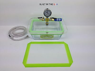 3- QT Rectangle Pyrex/ Glass Vacuum Chamber + With SlickVacSeal