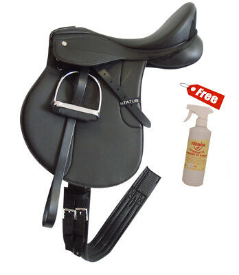 Status GP All Purpose Saddle Fully Mounted Black 3 sizes+FREE Equinade Cleaner