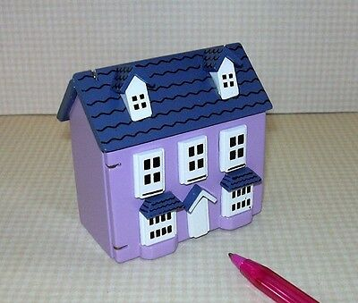 Miniature 1/144 Scale Purple DOLLHOUSE, Front Opening, Attic Access, Nice Detail
