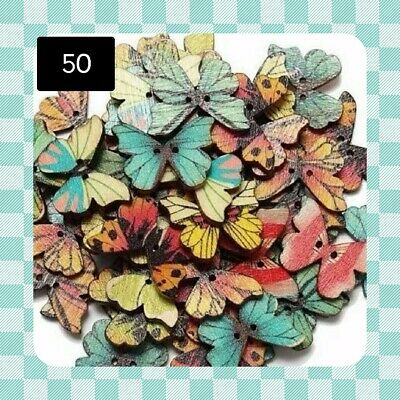 50 Wood Buttons - BUTTERFLY - 24mm x 18mm - Scrapbooking - Crafting - Sewing UK