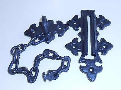 Cast Iron Black Ornate Vintage Chain Latch