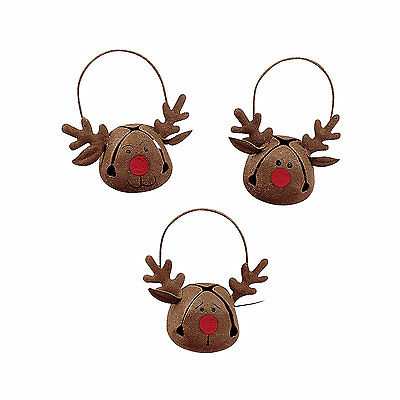 Christmas Reindeer Bells Metal Tree Ornaments X 12 Jingle Bell Rudolf Red Nose