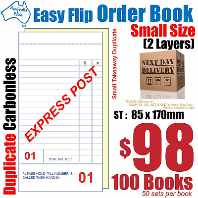 100x Middle Takeaway Duplicate Carbonless Restaurant Docket Order Book 85x170mm