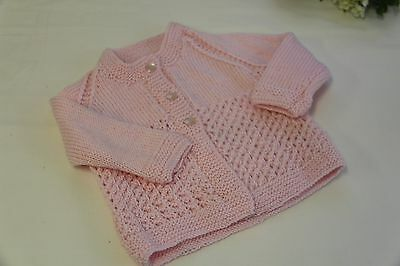 Baby cardigan, 0-3 mths, Baby shower gift, Pink baby sweater, Baby knits, Girl