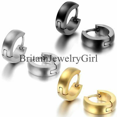 Men Womens Gold Silver Black Stainless Steel Plain Cambered Hoop Huggie Earrings