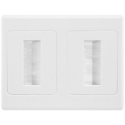 Double Gang White Brush Wall Plate In-Wall Cable Management White