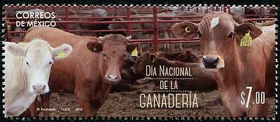 Livestock Day Cows Steers mnh stamp 2016 Mexico Cattle